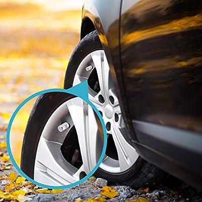 8pcs Pieces Tire Stem Valve Caps Wheel Valve Covers Car Dustproof Tire Cap, Hexagon Shape (Red) (Silver): Automotive
