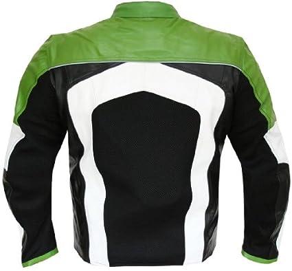 New Mens Razer Motorcycle Biker Armor Mesh /& Leather Green Riding Jacket XXL