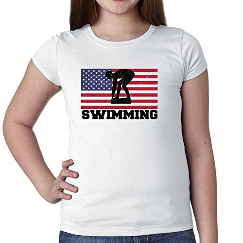 USA Olympic - Swimming Starting Block - Flag Girl's Cotton Youth T-Shirt