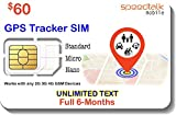 $60 GSM SIM Card for GPS Trackers - Pet Kid Senior Vehicle Tracking Devices - 6 Months Service