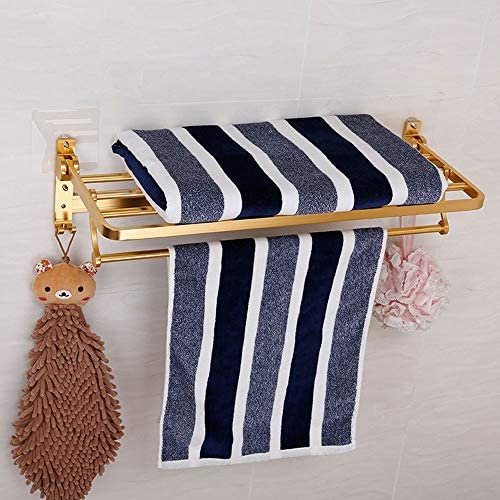 バスルームタオルハンガータオル掛け 壁には、キッチンやバスルーム用のタオルフック、調節可能なタオルバー付きステンレスタオルラックマウント おしゃれ ホーム キッチン バスルームアクセサリー (Color : Brass, Size : 57.5x23x13.5cm)