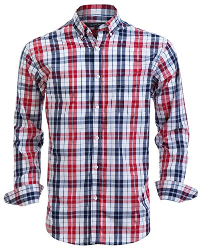 (Double Pump Mens Button Down Shirts 100% Cotton Long Sleeve Shirts Regular Fit (SL02A,M))