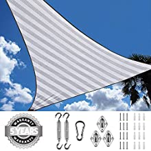 Quictent 185G HDPE Triangle 20x20x20FT Sun Shade Sail Canopy 98% UV Block Top Outdoor Cover Patio Garden with Free Hardware Kit (White and Grey)