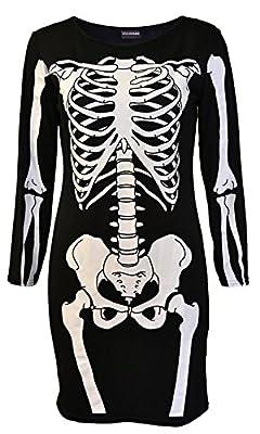 POGTMM Women's Halloween Costumes Skeleton Bones Bodycon Party Fancy Dress