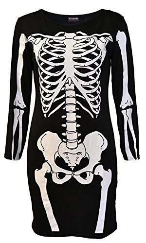 Womans Sexy Halloween Costumes Skeleton Bones Party Dress Womans Sexy Halloween Costumes Skeleton Bones Party Dress(L, Black Skeleton Print)