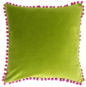 "BRIGHT POM POM SOFT GREEN PINK 100% COTTON VELVET PILLOW CUSHION COVER 18"" - 45CM"