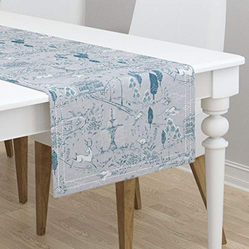 (Table Runner - Toile Toile Woodland Blue Gray Linen Texture Toile Country French Deer Rabbit by Nouveau Bohemian - Cotton Sateen Table Runner 16 x 90)