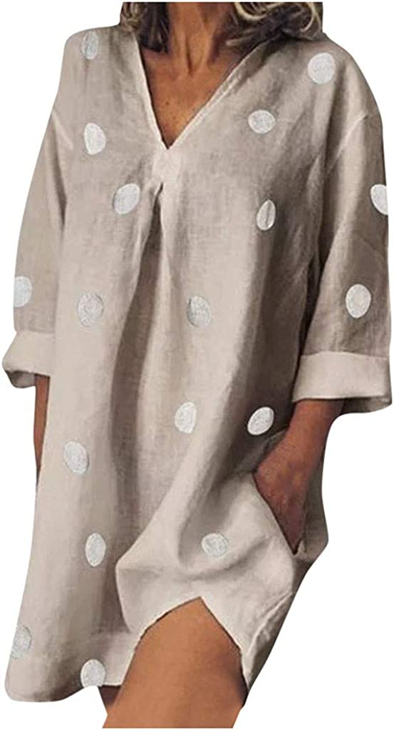 NANTE Top Womens Dress Dot Print V Neck Loose Cotton and Linen Long Sleeves Dress Baggy Knee Length Dresses Plus Size Gown