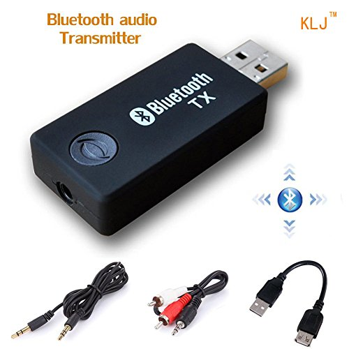 KANGLONGJIA Bluetooth transmitter, 3.5mm Portable Stereo Audio Wireless Bluetooth Transmitter for TV, iPod, MP3/MP4,USB Power Supply (Bluetooth Transmitter) (Stereo Supply Power)
