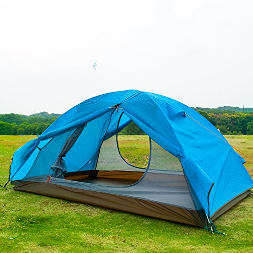 Camp Solutions-2 Person Tent Double Layer 3 Season 2 Skylight Aluminum Rod Outdoor Camping Tent 4.6