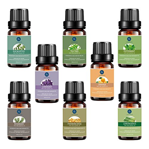 Top 8 Essential Oils Set,Pure Therapeutic Grade Aromatherapy Oils,Lavender,Eucalyptus,Lemongrass,Frankincense,Orange,Rosemary,Peppermint,Tea Tree Essential Oils by Lagunamoon (Image #7)