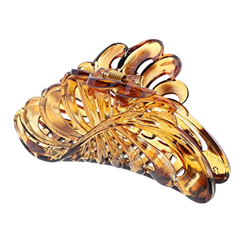 (Shiny Spotted 5 inch Large Jaw Clip Hair Claw with leaf design (Motique Accessories))
