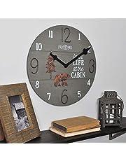 ساعة حائط بتصميم Cabin Life مقاس 15.5 بوصة من FirsTime & Co، بني داكن