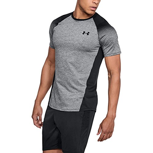 Under Armour Men's MK-1 Dash Printed Left Chest Short Sleeve Shirt, Black Light Heather (001)/Black, Medium