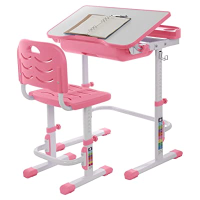 Kids Functional Desk and Chair Set, Height Adjustable Children School Study Desk with Tilt Desktop, Bookstand, Metal Hook and Storage Drawer for Boys Girls (Pink) : Garden & Outdoor [5Bkhe0505247]