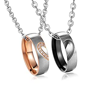 SunnyHouse Jewelry His & Hers Matching Set Titanium Stainless Steel Heart with Heart Couple Pendant Necklace in a Gift…