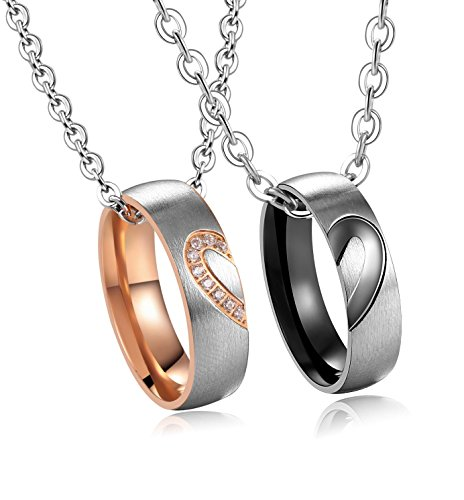 His & Hers Matching Set Titanium Stainless Steel Heart with Heart Couple Pendant Necklace in a Gift Box (A Set) (Band Necklace)