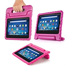 TNP Shock Proof Case for All New Fire HD 8 Tablet (7th Gen, 2017 Release) - For Kid Friendly Child Proof Anti Slip Impact Drop Light Weight Convertible Handle Stand Cover Protective Case (Pink)
