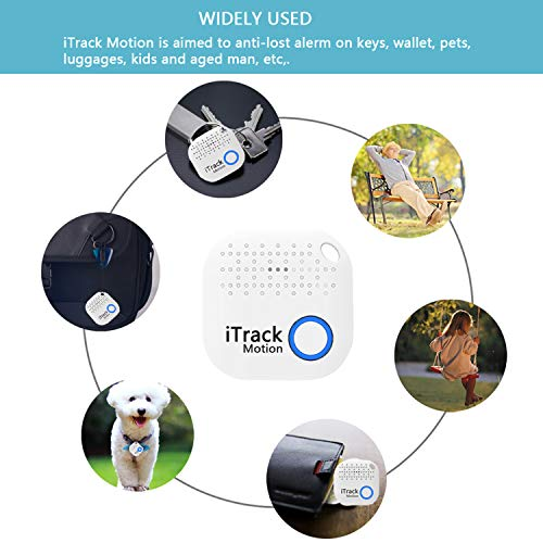 iTrack Motion Key Finder, Bluetooth Wireless Keys Phone Tracker Locator Smart Anti-Lost Device for Phone, Kids, Keychain, Wallet, Bags, Purse, Luggage