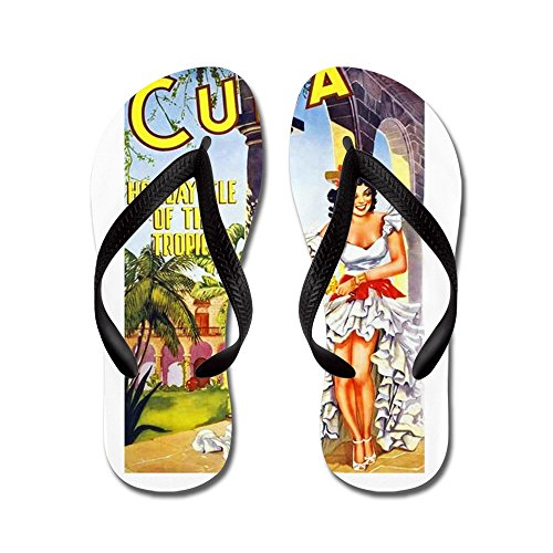 CafePress Cuba Travel Poster 1 - Flip Flops, Funny Thong Sandals, Beach Sandals Black