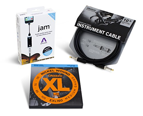 Apogee JAM Electric Bass Accessory Bundle with D'Addario EXL160 Strings and American Stage Cable