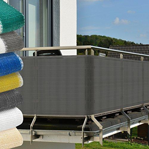 Balkon Sichtschutz 500x90 cm Anthrazit (Grau) - witterungsbeständige Balkonumspannung mit Befestigung - Windschutz