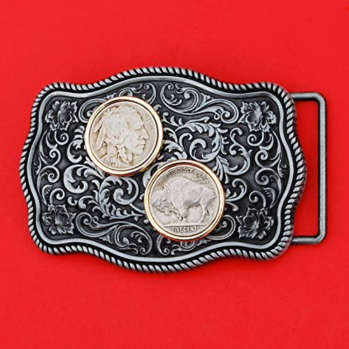 US 1938 Indian Head Buffalo Nickel 5 Cent Coin Gold Silver Two Tone Belt Buckle NEW - Beautiful Western Scroll Design - Obv + Rev (Indian Gold Coin)