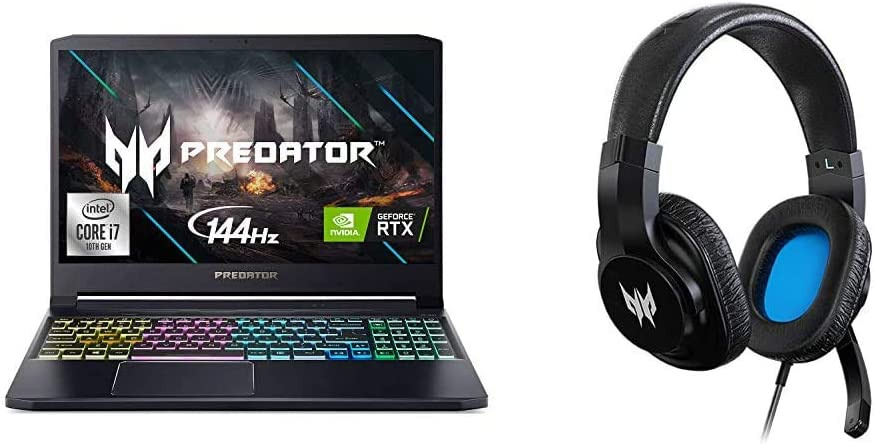 """Acer Predator Triton 300 Gaming Laptop, Intel i7-10750H, NVIDIA GeForce RTX 2060, 15.6"""" Full HD IPS 144Hz 3ms IPS Display, 16GB Dual-Channel DDR4, 1TB NVMe SSD with Gaming Headset"""