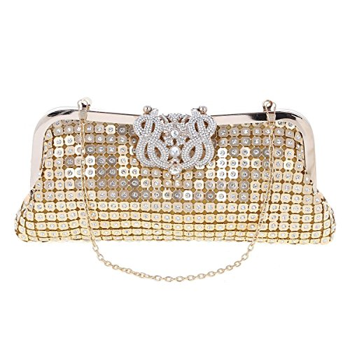 Black Womens Womens Damara Clutch Rhinestones Wedding Damara Crown Sequins RF41wURgq
