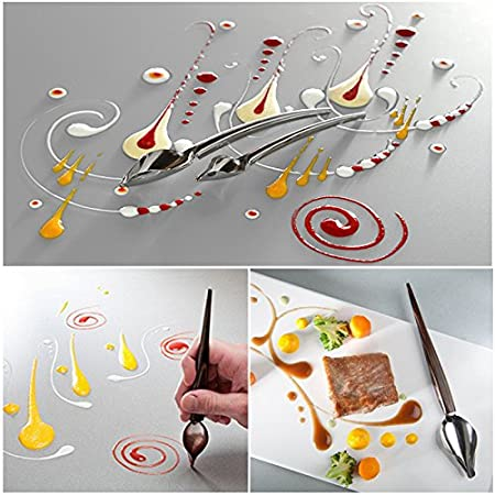 Amazon.com: Hofumix Deco Spoon Chocolate Spoons Stainless Steel Chef  Culinary Drawing Spoons Precision Sauce Fondant Cream Pencil Filter Cake  Decoration Baking Tool for DIY Decorating Plates 2Pcs: Kitchen & Dining