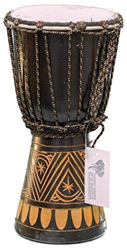 Professionelle 30cm Djembe Trommel Bongo Drum Buschtrommel Afrika-Style handgeschnitzt aus Mahagoni Holz Design 5