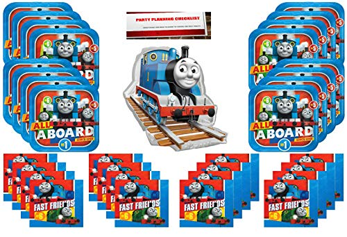 Thomas The Train Party Supplies Bundle Pack for 16 (16 Inch Balloon Plus Party Planning Checklist by Mikes Super Store) (Thomas The Tank Engine Plates And Cups)