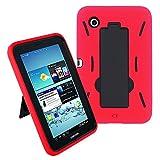 Galaxy Tab 2 7 Case KIQ (TM) Heavy Duty Hybrid Silicone Skin Hard Plastic Case Cover Kick Stand for Samsung Galaxy Tab 2 7.0 P3100 - Black / Red