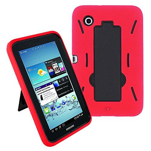 Galaxy Tab 2 7 Case KIQ (TM) Heavy Duty Hybrid Silicone Skin Hard Plastic Case Cover Kick Stand for Samsung Galaxy Tab 2 7.0 P3100 - Black/Red