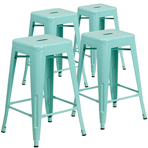 Flash Furniture 4 Pk. 24'' High Backless Mint Green Indoor-Outdoor Counter Height - Mint Chair Outdoor