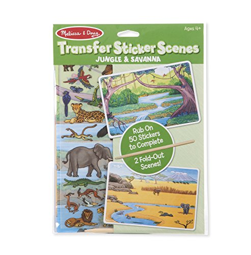 - Melissa & Doug Transfer Sticker Scenes Jungle and Savanna With 2 Scene Cards, 40 Rub-On Stickers