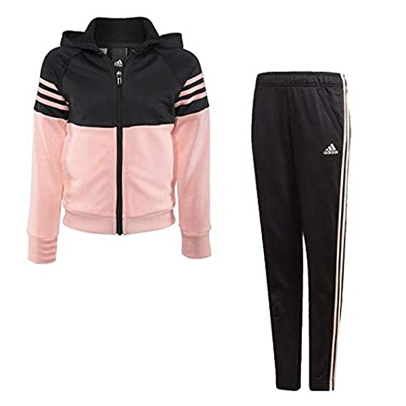 cheaper arriving outlet adidas - Survêtement - Fille Multicolore Black/Haze Coral ...