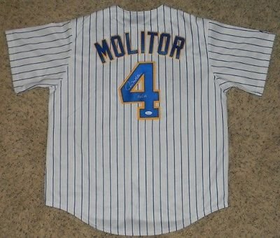 Authentic Milwaukee Brewers Jersey - Paul Molitor Autographed Signed Milwaukee Brewers #4 Throwback Jersey (authenticated by JSA)