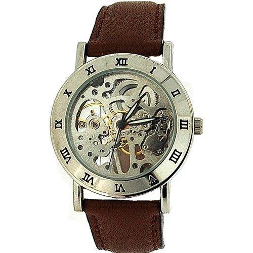 Montre Boxx Homme Squelette du Mécanisme Apparent Bracelet Marron en Cuir   Amazon.fr  Montres 7910c6252719