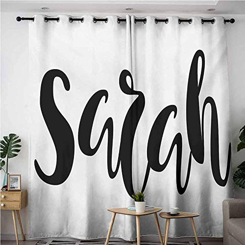 Window Curtain,Sarah Monochrome Popular Female Name Modern Calligraphy Hand Drawn Signature Lettering,Darkening Thermal Insulated Blackout,W72x96L,Black and White