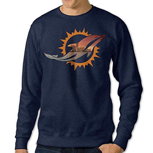 BestGifts Men's Miami Sport Football Logo Crewneck Sweatshirts Navy Size S