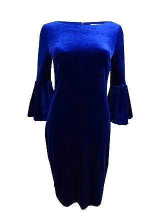 23185535a1507 Calvin Klein Women s Bell Sleeve Velvet Sheath CD7V133E Sapphire 10 at  Amazon Women s Clothing store