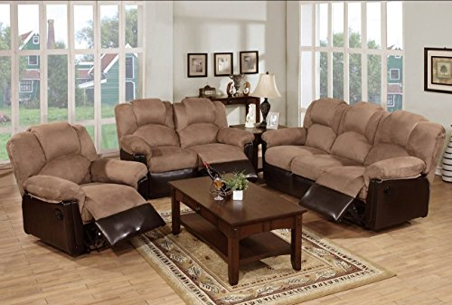 3-PC Modern Saddle Plush Microfiber Fabric and Brown Faux Leather Motion Sofa Set With Recliners