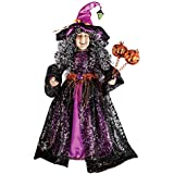 Collections Etc Decorative Indoor or Outdoor Halloween Witch Statue with Pumpkins Accents, Black, Purple, Orange