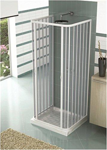 Mampara ducha tres lados extensible en PVC apertura central dos hojas Blanco H 185 cm 70 x 90 x 70 cm