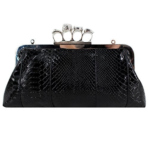 Chain Party PU Punk Knuckle Leather with Skull Millya Bag Evening Bag Shoulder Black Women Handbag Ring Style Clutch qgnOxnUw1F