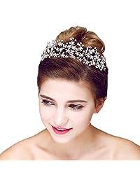 YAZILIND Headdress Beauty Bridal Headband Crown Rhinestones Alloy Leaves Wedding Hair Accessories Party Women