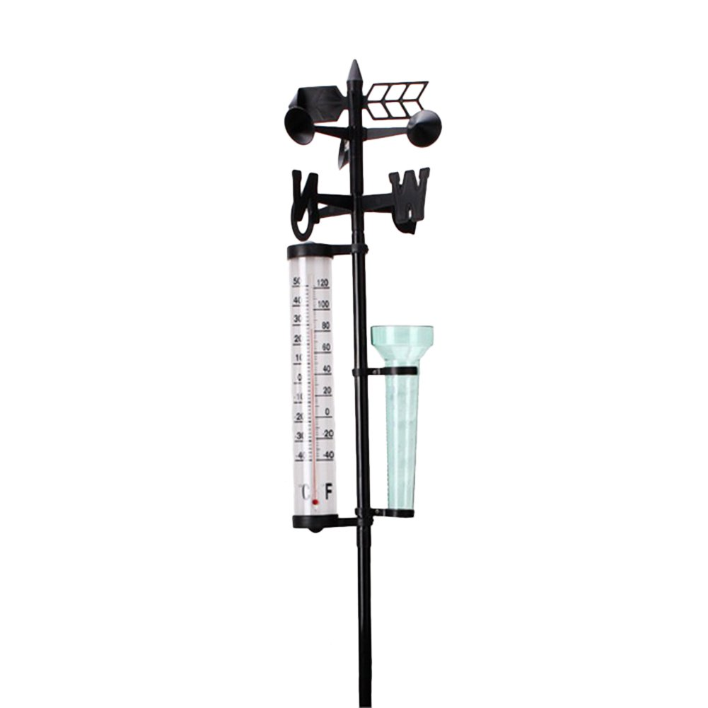 gentman Garden Outdoor Weather Station Rain Gauge + Thermometers + Wind Indicator Meteorological Measure Vane Tool