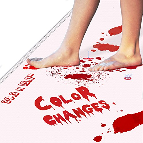 Bloody Bath Mat – Color Changing Sheet Turns Red When Wet – Bleeding Footprints Disappear 5 Minutes Later - Magic Halloween Cover for Carpet for Shower/Bathroom (39.3x15.7) -