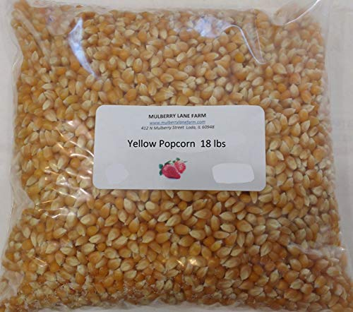 Yellow Popcorn Popping Corn, 18 lbs (eighteen pounds) Kernels, Popping, Premium Gourmet, All Natural Non-GMO Gluten Free GF BULK